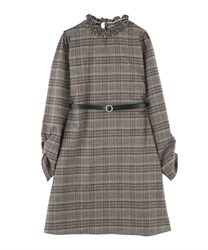 Plaid Shift Dress with Basic Thin Belt(Black-M)