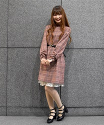 Plaid Shift Dress with Basic Thin Belt