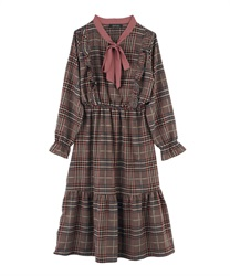 Glen Plaid Calf Length A-Line Dress with Bow Tie(Pale pink-M)