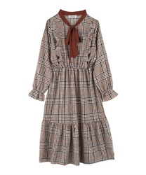 Glen Plaid Calf Length A-Line Dress with Bow Tie(Beige-M)