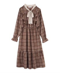 Glen Plaid Calf Length A-Line Dress with Bow Tie(Brown-M)