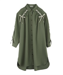 Drawstring Sleeve Shirt Dress(Khaki-Free)