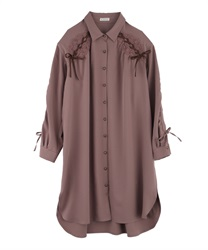 Drawstring Sleeve Shirt Dress(Mocha-Free)