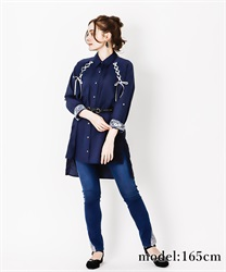 Lace-up shirt tunic