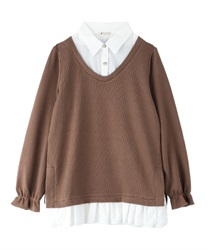Shirt layered tops(Mocha-Free)