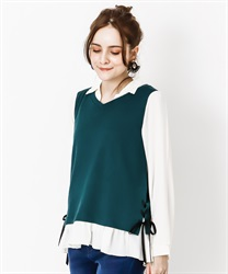 Vest layered style pullover(Green-Free)