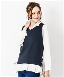 Vest layered style pullover(Navy-Free)