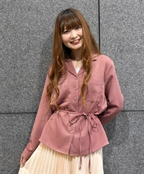 "【MAX70%OFF】Loose Shirt with ""Removable Waist Ribbon""(Pale pink-M)"