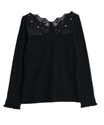 Delicate lace long sleeve inner(Black-Free)