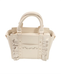 Frill x Jewels Decoration Sholder Bag(Ecru-M)