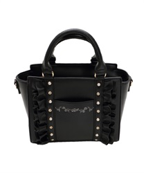 Frill x Jewels Decoration Sholder Bag(Black-M)