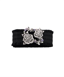Elastic Belt with Lace Motif Buckle(Silver-M)
