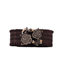 Elastic Belt with Lace Motif Buckle(Antiquegold-M)