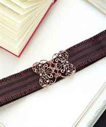 Butterfly ornament rubber belt(Pale pink-M)