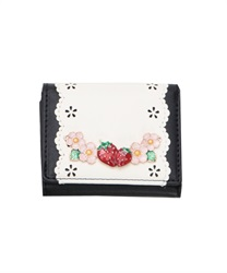 Sweet Strawberry Trifold Wallet(Black-M)