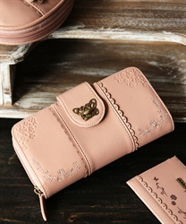 Roses embroidery long wallet(Pale pink-M)