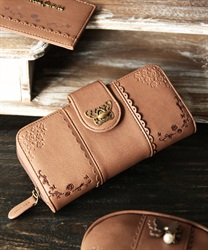 Roses embroidery long wallet(Brown-M)