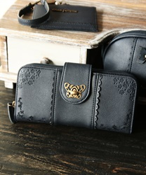 Roses embroidery long wallet(Navy-M)