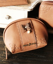 Emboss roes pouch(Brown-M)