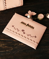 Roses embroidery pass case(Pale pink-M)