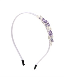 Headband Coverd wih Jwel Ivy and Roses(Silver-M)