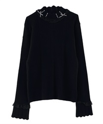 【2Buy20%OFF】Short Turtleneck Pullover with High Laced Ribbon(Black-Free)