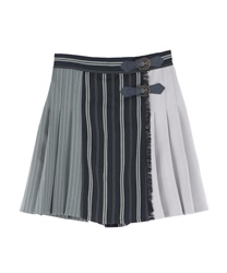 【MAX70%OFF】Patchwork Design Skirt pants(Black-Free)