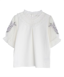Lavender embroidery pullover(White-Free)