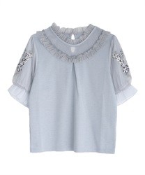 Lavender embroidery pullover(Blue-Free)