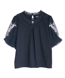 Lavender embroidery pullover(Navy-Free)