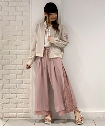 Side pleated pants(Pale pink-Free)