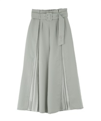 Slit pleated pants(Green-Free)