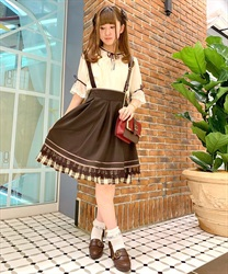 [Special item] check Frill with suspension Skirt(Brown-Free)