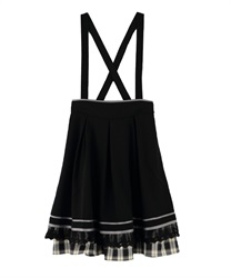 [Special item] check Frill with suspension Skirt(Black-Free)