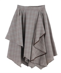 Frilled ilehem skirt(Brown-Free)