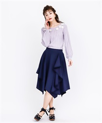 Frilled ilehem skirt(Navy-Free)