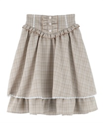 Two-tiered ruffle skirt(Beige-Free)