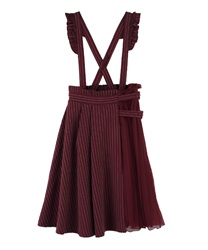 Pleated design with suspension Skirt(Wine-Free)