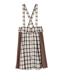 "Side Pleated Plaid Skirt with ""Removable Suspender""(Brown-Free)"