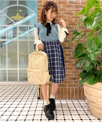 "Side Pleated Plaid Skirt with ""Removable Suspender"""