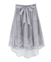 Lace × Tulle Asymmetric Skirt(Grey-Free)