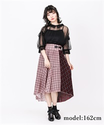 Asime check skirt(Wine-Free)