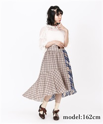 Asime check skirt(Blue-Free)