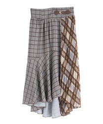 Asime check skirt(Brown-Free)