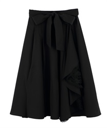 Lacey Frilled Asymmetrical Skirt(Black-M)