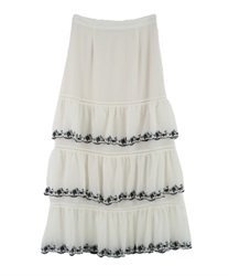 Embroidery Tiered Skirt(Ecru-Free)