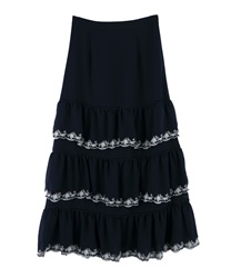 Embroidery Tiered Skirt(Navy-Free)