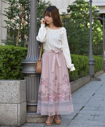 Floral tulle skirt(Pale pink-Free)