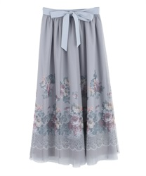 Floral tulle skirt(Grey-Free)