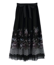 【MAX70%OFF】Floral tulle skirt(Black-Free)